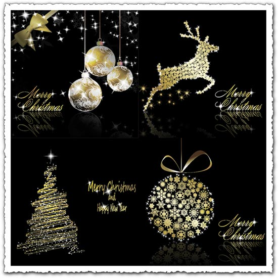 Gold Christmas vector elements