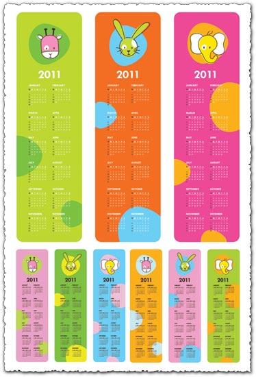 Childrens calendar for 2011 vector