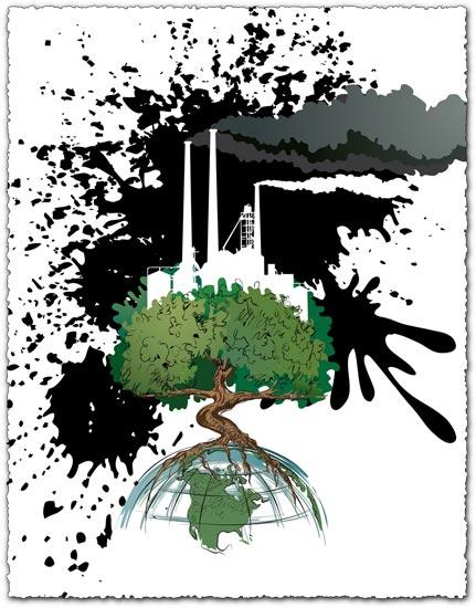 Eco over industry vector