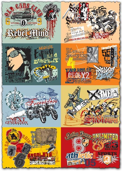 Grunge urban style vectors collection