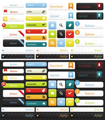 Site elements and web design buttons vectors