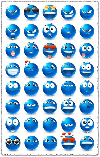Blue emoticon models