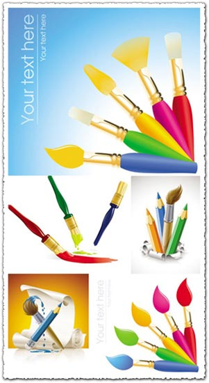 Brushes and creyons vectors design