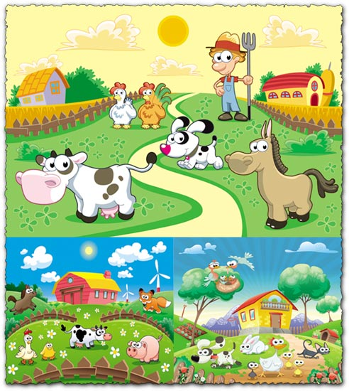 Cartoon farm vectors