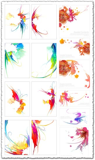 Ink postcard vectors
