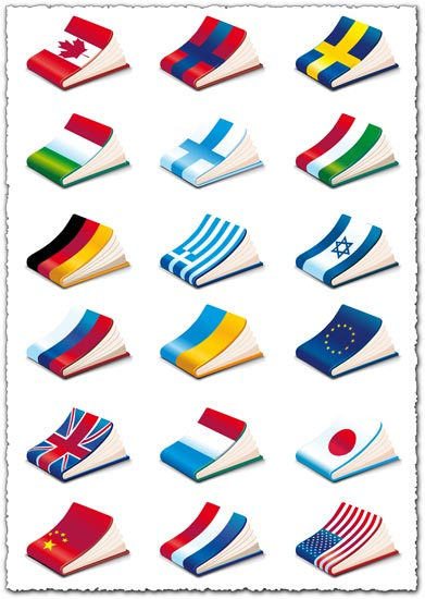 Books covered in flags vectors