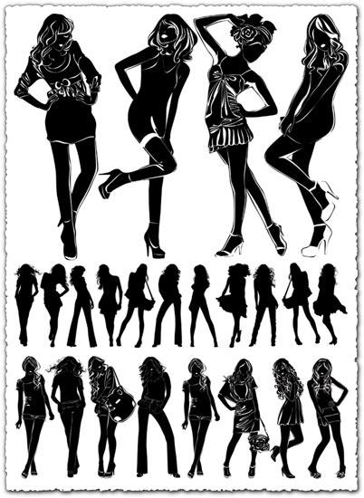 Girl silhouette vectors
