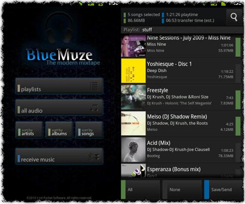 BlueMuze 0.9.7a application for Android