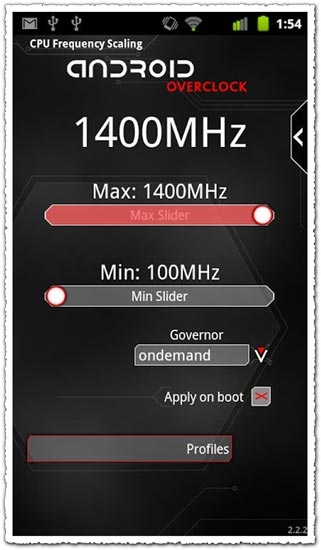 Droid Overclock 2.1.2 Android application