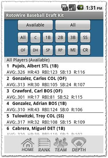 Fantasy Baseball Draft Kit 11 1.6 Android application