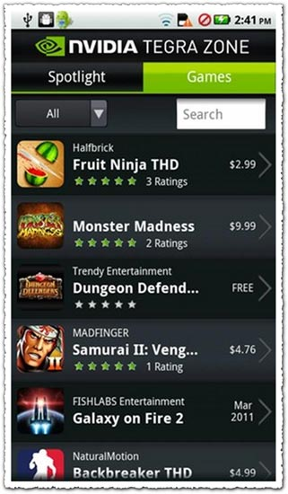 NVIDIA TegraZone 2.2 Android application