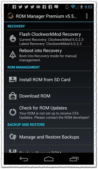 ROM Manager Premium 3.0.1.3 Android application