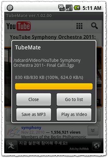 TubeMate Genuine 1.03.08 Android application