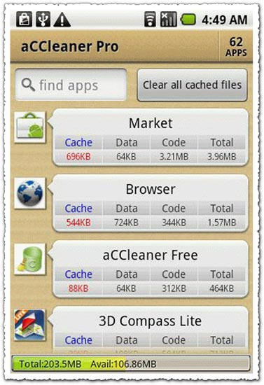 aCCleaner Pro 1.20 Android application