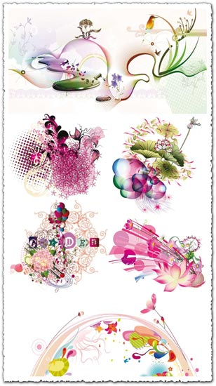 Colorful fantasy flowers vectors