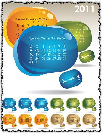 Creative vector calendars for 2011