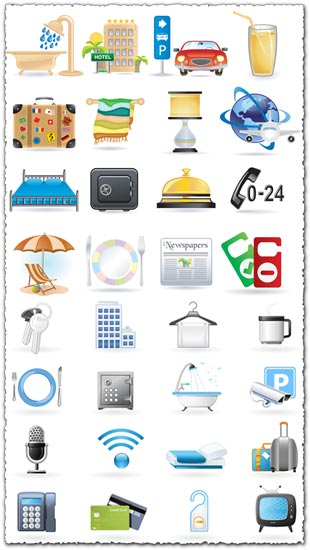 Hotel icons in vector format