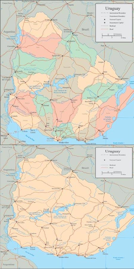 Uruguay vector maps