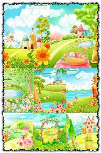 Cartoon spring vectors