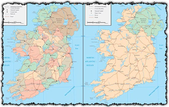 Map Of Ireland Lakes.Ireland Map Vector