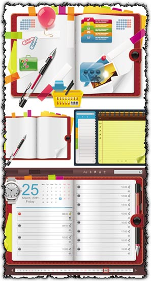Notebook organizer vectors