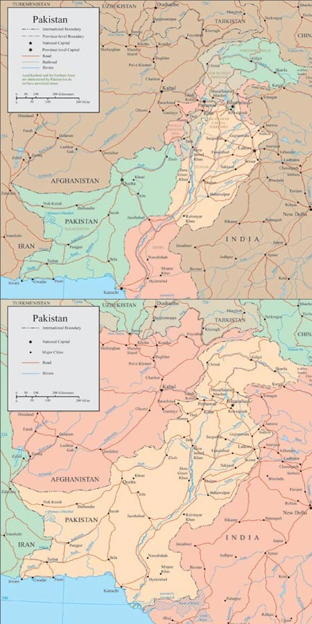 Pakistan vector maps