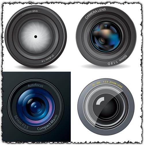 Photo camera lens vectors