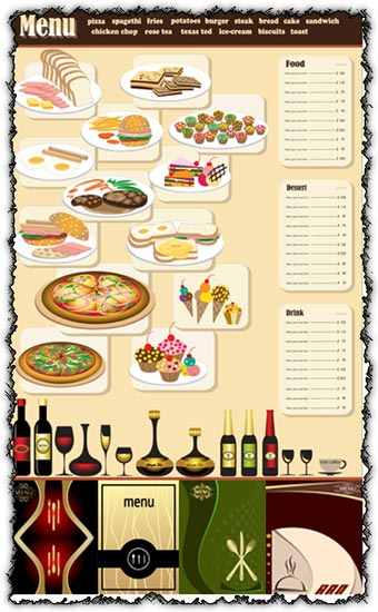 restaurant menu template vectors
