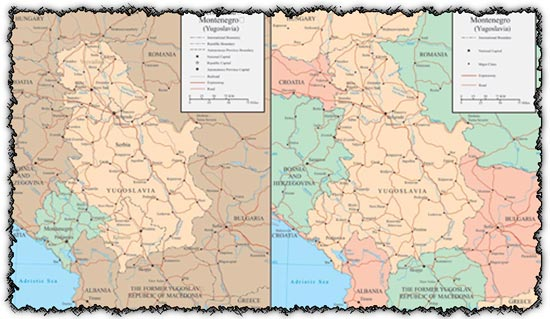 Serbia and Montenegro vector maps