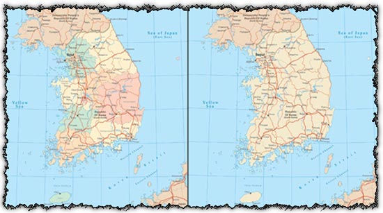 South Korea vector maps