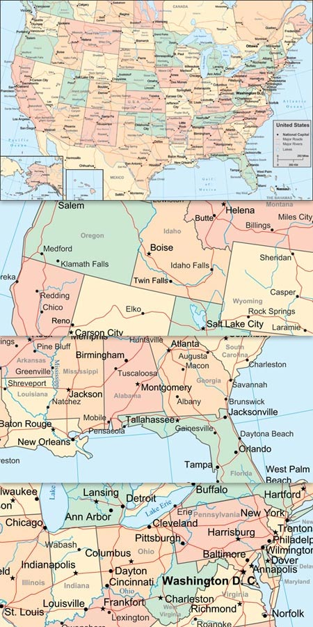 States Vector Map - Us maps with states and cities