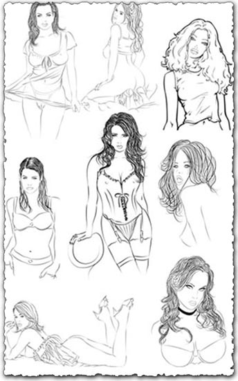 Vector girls pencil sketches