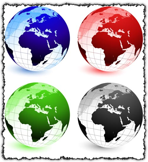 Colorful globes in vector format