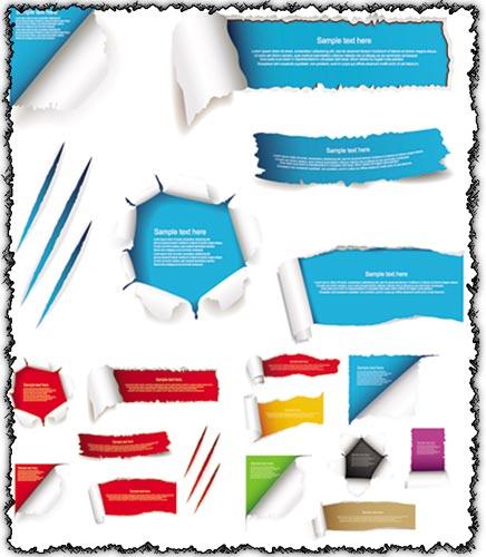 Colored torn paper vectors