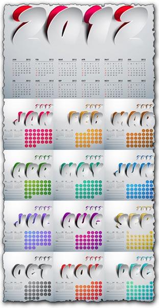 2012 Calendar design vector