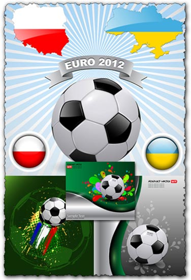 Euro 2012 football vector cards