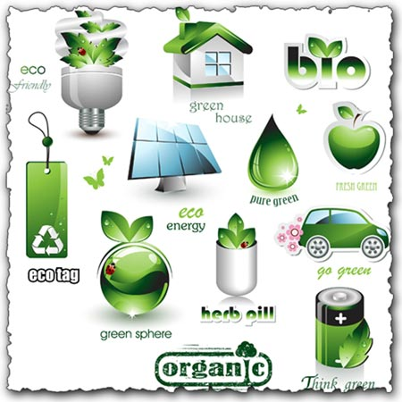 Green elements and icons