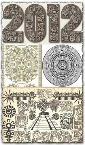 with mayan and aztec vector symbols  in the last year of the mayan    Mayan Symbols Vector