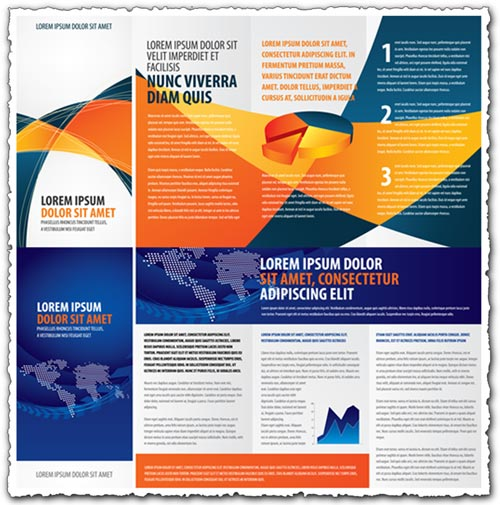 Tri fold business brochure vectors