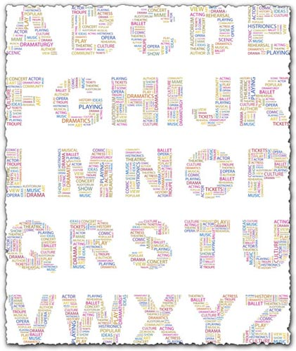 Alphabet letters collage vectors