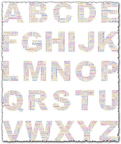 Alphabet letters collage vectors