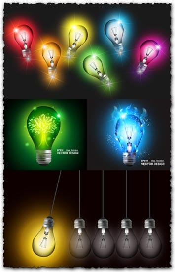 Colored bulbs vector templates