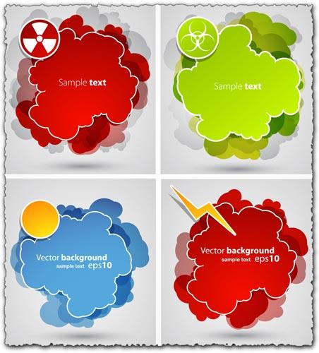 Colorful sticker clouds vectors