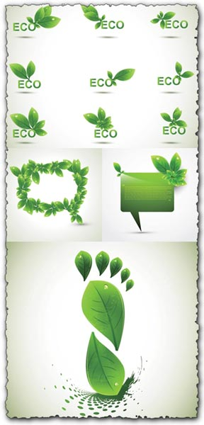 Creative green leafs vectors