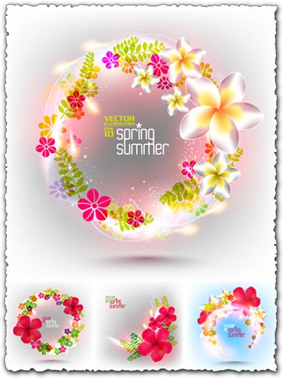 Floral spring cards vectors