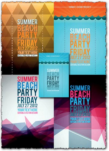 Beach party flyers vector templates