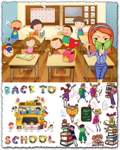 School, kids and vector elements