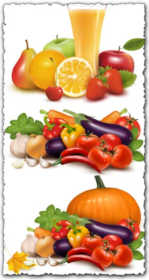 Fresh vegetables vectors collection