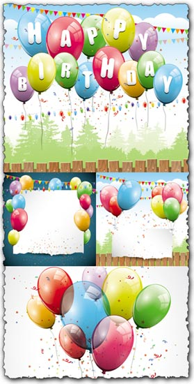 Happy birthday balloons vector