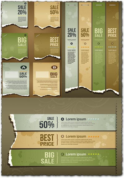 Ripped paper banners eps vectors